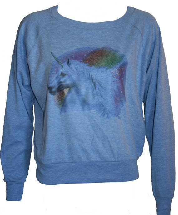 "Glitter Rainbow UNICORN Pullover Slouchy ""Sweatshirt""  Top American Apparel Blue S"