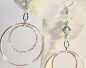 Glass Crystal Double Hoop/Hoops Surgical Steel Wire Back Earrings