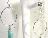 Turquoise Howelite Bead Dangle Hoop Clip On Earrings or Choose Pierced Earrings