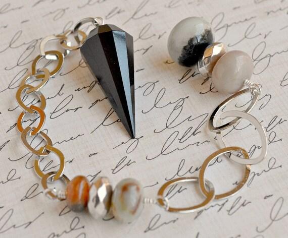 Black Jasper and Amazonite Pendulum
