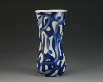 Glass Shot Glass - Bud Vase Lampwork Handblown Boro Glass Blue