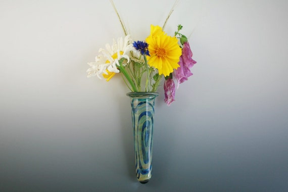 Glass Wall Vase Wall Pocket  Window Vase Lampwork Handblown Boro
