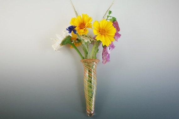 Glass Wall Vase - Wall Pocket -  Window Vase - Handblown Lampwork Boro
