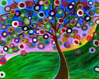 Original Painting Abstract Fantasy Tree Sunrise Landscape Colorful Modern Contemporary 16x20, Free Shipping