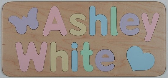 Wood Name Puzzle for Two Names, Kids Birthday Gift,Personalized,Educational Toy,Select Flush or Raised Letters,Mixed Case Letters Only