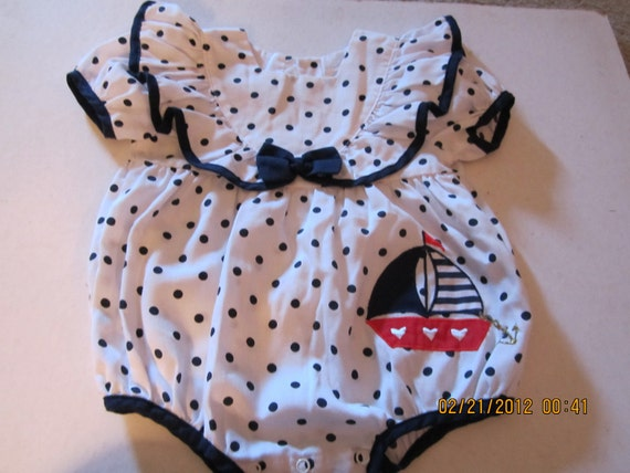 Vintage Easter SAIL BOAT Polka dot Infant Baby Girl Bubble Sunsuit 6-9 months