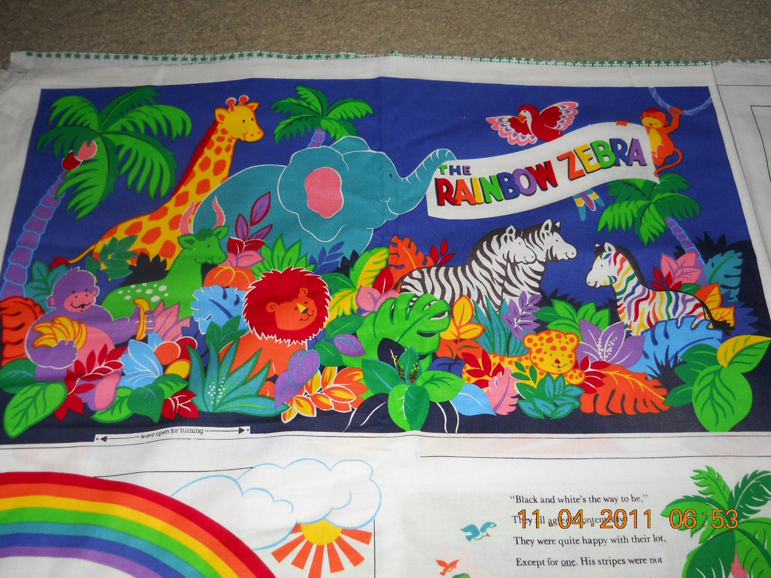 Rainbow Zebra Fabric Panel Book Cutout