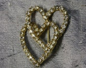 Vintage Double Heart Rhinestone Pin - eveningangel