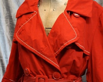 Ladies Double-breasted Red Trench Rain Coat
