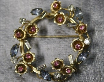 Vintage Pink and Blue Rhinestone Floral Wreath Pin