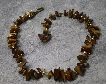 Vintage Bronze Colored Mother of Pearl Necklace