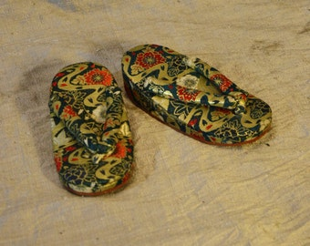 Children's Silk Brocade Japanese Geta Slippers