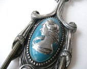 Antique Large Electrified Sconce Cameo Portrait of a Lady, Silver & Blue