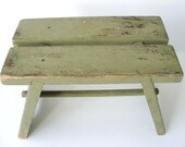 Antique Distressed Green Footstool Sage Green Foot / Step Stool