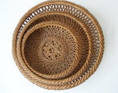 SALE Woven Baskets Set of 3 Vintage Japanese Bamboo Baskets