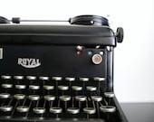 SALE Vintage Typewriter Royal KHM 1937 Antique Black