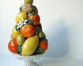 Vintage Citrus Fruit Basket Topiary Pyramid - Porcelain Centerpiece by Bassano