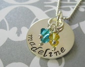 Hand Stamped Mommy Jewelry - Sterling Silver Personalized Necklace - Precious Single Name with Swarovski Crystal Birthstones