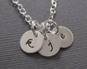 Hand Stamped Mommy Jewelry - Personalized Sterling Silver Necklace - Three Petite Initial Tags