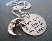 Hand Stamped Mommy Necklace - Love You to the Moon and Back