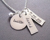 Hand Stamped Mommy Jewelry - Personalized Sterling Silver Custom Necklace - Anniversary Necklace with Swarovski Pearl