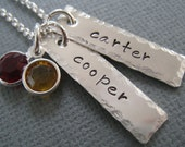 Hand Stamped Mommy Necklace - Personalized Sterling Silver.... Two Little Tags with Hammered Border