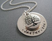 Hand Stamped Mommy Jewelry - Personalized Sterling Silver Necklace - Family Tree Pendant