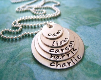 Hand Stamped Mommy Jewelry - Personalized Sterling Silver Necklace - My Family of Five Stack