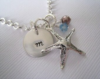 Hand Stamped Mommy Jewelry - Personalized Sterling Silver Necklace with Starfish and Swarovski Crystal and Pearl