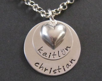 Hand Stamped Mommy Jewelry - Sterling Silver Personlized Necklace - Layered  with Puffed Heart