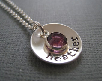 Personalized Necklace - Hand Stamped Sterling Silver Mommy Jewelry - Cupped disc with Swarovski Birthstone