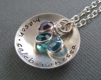 Hand Stamped Mommy Jewelry -  Personalized Sterling Silver Necklace - Love Cupped with Birthstones