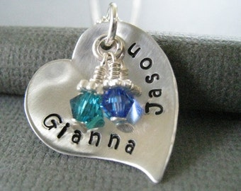Hand Stamped Mommy Jewelry - Sterling Silver Personalized Necklace - Modern Cupped Heart with Swarovski Crystals