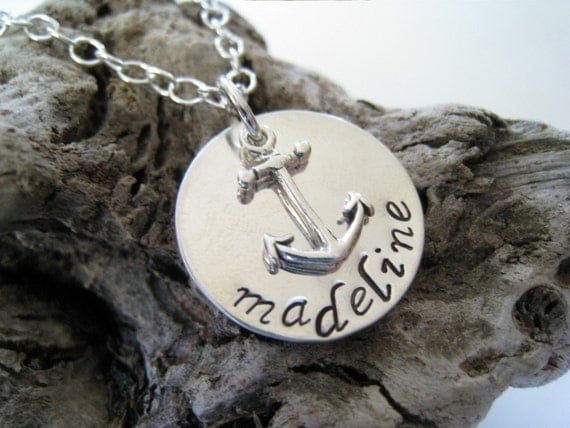 You Are My Anchor II.... Sterling Silver Hand Stamped Personalized Necklace