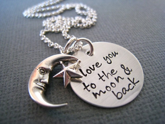 Personalized Necklace - Hand Stamped Sterling Silver Mommy Jewelry - Love You to the Moon and Back