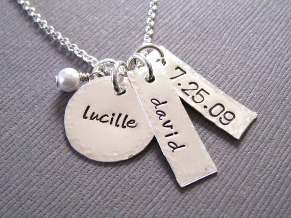 Personalized Necklace - Hand Stamped Sterling Silver Custom Jewelry - Anniversary Necklace