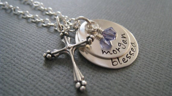 Custom Hand Stamped Jewelry - Personalized Sterling Silver Mommy Necklace with Ornate Cross