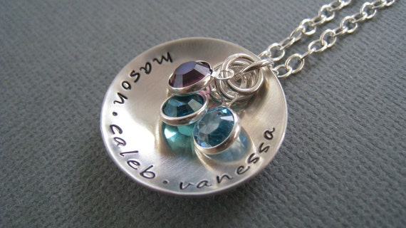 Hand Stamped Mommy Necklace - PersonalizedJewelry in Sterling Silver.... Love Cupped with Swarovski Crystal Birthstones