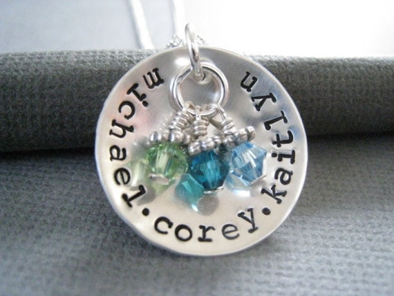 Personalized Jewelry - Hand Stamped Sterling Silver Mommy Necklace - Cupped Names with Birthstones