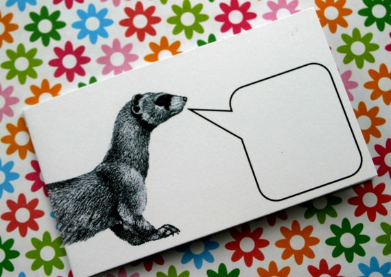 Fast-Talking Ferret - Set of 5 Mini Notecards and Envelopes
