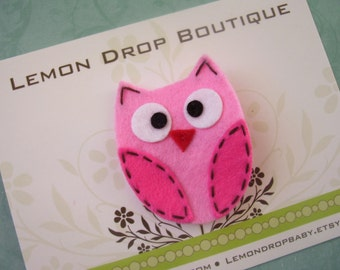 FREE SHIPPING with 25 dollar order! Hot Pink and Pink Felt Owl Hair Clip-No Slip Grip