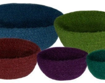 Felted Bowl Set (5 Sizes) - PDF Crochet Pattern - Instant Download