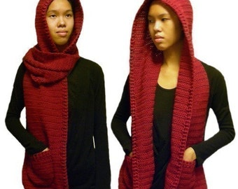 Hooded Scarf  (3 sizes) - PDF Crochet Pattern - Instant Download
