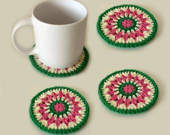 Kaleido Coasters - PDF Crochet pattern - Instant Download