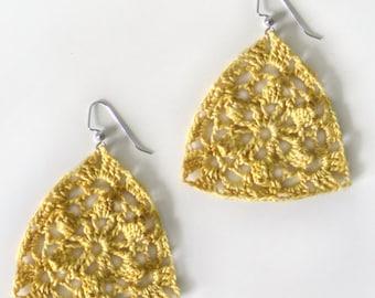 Floral Triangle Earrings - PDF Crochet Pattern - Instant Download