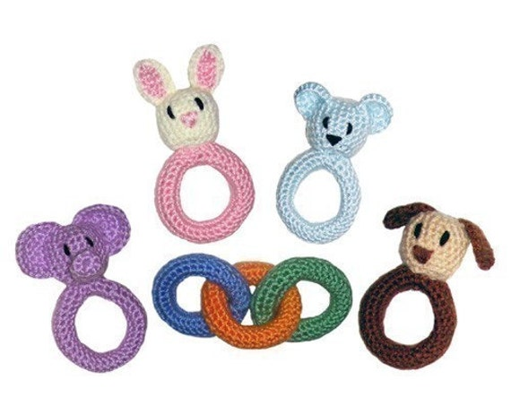 Baby Ring and Rattle Toys - PDF Crochet Pattern - Instant Download