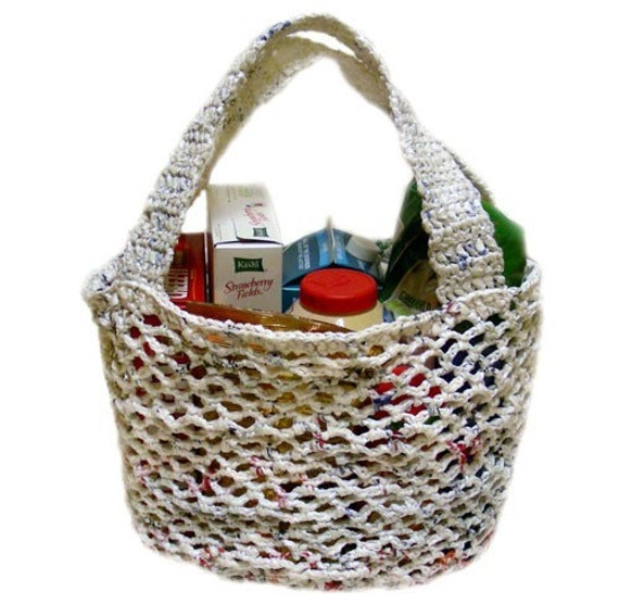 Crochet Plarn Tote Bag Pattern : Plarn Market Bag PDF Crochet Pattern by CrochetSpotPatterns