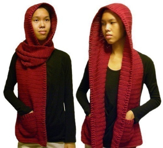 Free Crochet Pattern Pocket Scarf : Hooded Scarf 3 sizes PDF Crochet Pattern Instant