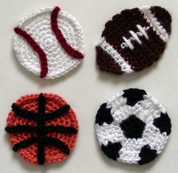 Sport Ball Appliques - PDF Crochet Pattern - Instant Download