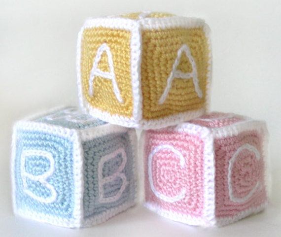 Free Easy Crochet Patterns For Baby Toys : Baby Blocks PDF Crochet Pattern Instant Download